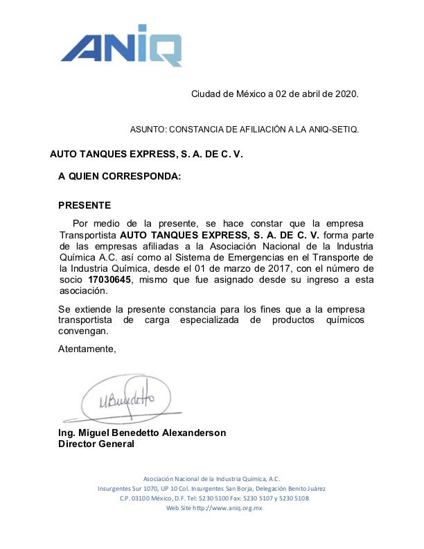 Carta constancia ANIQ-SETIQ-168